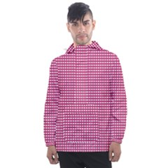 Gingham Plaid Fabric Pattern Pink Men s Front Pocket Pullover Windbreaker