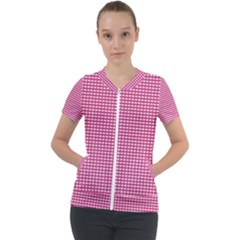 Gingham Plaid Fabric Pattern Pink Short Sleeve Zip Up Jacket by HermanTelo