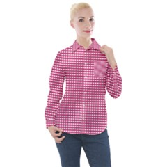 Gingham Plaid Fabric Pattern Pink Women s Long Sleeve Pocket Shirt by HermanTelo