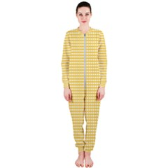 Gingham Plaid Fabric Pattern Yellow Onepiece Jumpsuit (ladies)