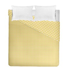 Gingham Plaid Fabric Pattern Yellow Duvet Cover Double Side (full/ Double Size)