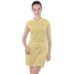 Gingham Plaid Fabric Pattern Yellow Drawstring Hooded Dress by HermanTelo