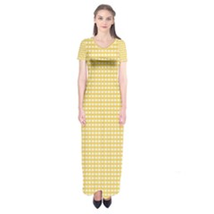 Gingham Plaid Fabric Pattern Yellow Short Sleeve Maxi Dress