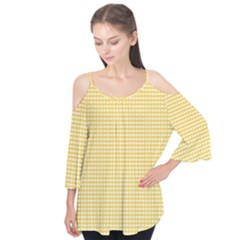 Gingham Plaid Fabric Pattern Yellow Flutter Tees by HermanTelo