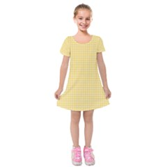 Gingham Plaid Fabric Pattern Yellow Kids  Short Sleeve Velvet Dress by HermanTelo