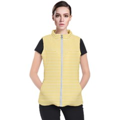 Gingham Plaid Fabric Pattern Yellow Women s Puffer Vest