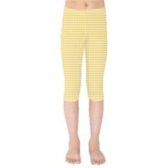 Gingham Plaid Fabric Pattern Yellow Kids  Capri Leggings  by HermanTelo