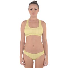 Gingham Plaid Fabric Pattern Yellow Cross Back Hipster Bikini Set