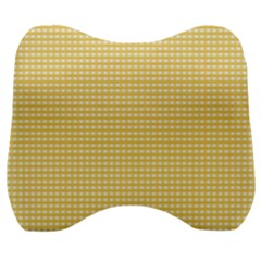 Gingham Plaid Fabric Pattern Yellow Velour Head Support Cushion