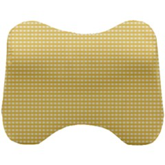 Gingham Plaid Fabric Pattern Yellow Head Support Cushion