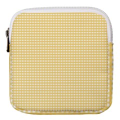 Gingham Plaid Fabric Pattern Yellow Mini Square Pouch