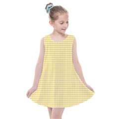 Gingham Plaid Fabric Pattern Yellow Kids  Summer Dress by HermanTelo