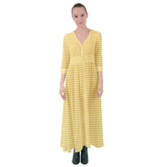 Gingham Plaid Fabric Pattern Yellow Button Up Maxi Dress