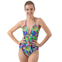 Jigsaw Puzzle Background Chromatic Halter Cut Out One Piece Swimsuit