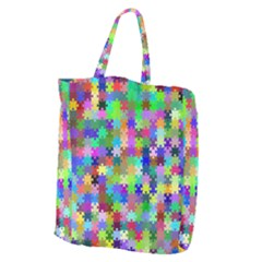Jigsaw Puzzle Background Chromatic Giant Grocery Tote