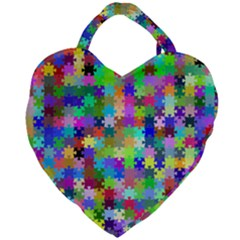Jigsaw Puzzle Background Chromatic Giant Heart Shaped Tote by HermanTelo