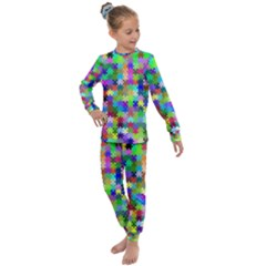 Jigsaw Puzzle Background Chromatic Kids  Long Sleeve Set  by HermanTelo