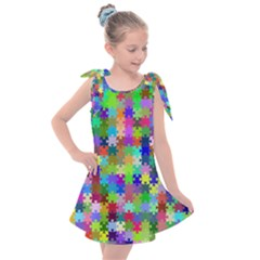 Jigsaw Puzzle Background Chromatic Kids  Tie Up Tunic Dress