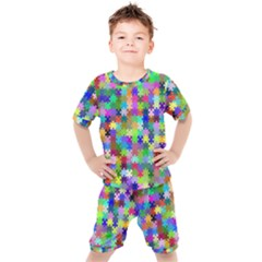 Jigsaw Puzzle Background Chromatic Kids  Tee And Shorts Set by HermanTelo