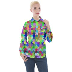 Jigsaw Puzzle Background Chromatic Women s Long Sleeve Pocket Shirt