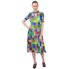 Jigsaw Puzzle Background Chromatic Keyhole Neckline Chiffon Dress