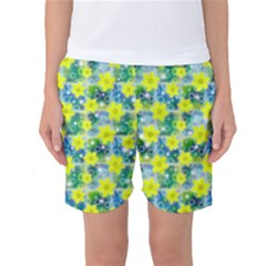 Narcissus Yellow Flowers Winter Women s Basketball Shorts by HermanTelo