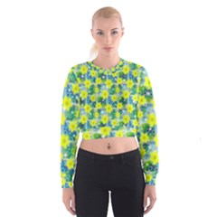 Narcissus Yellow Flowers Winter Cropped Sweatshirt