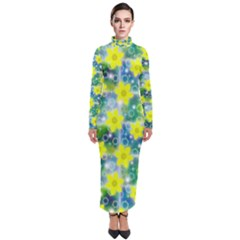 Narcissus Yellow Flowers Winter Turtleneck Maxi Dress by HermanTelo