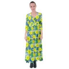 Narcissus Yellow Flowers Winter Button Up Maxi Dress