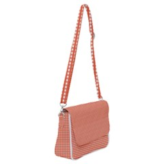 Gingham Plaid Fabric Pattern Red Shoulder Bag With Back Zipper by HermanTelo