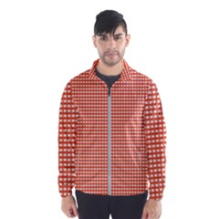Gingham Plaid Fabric Pattern Red Men s Windbreaker