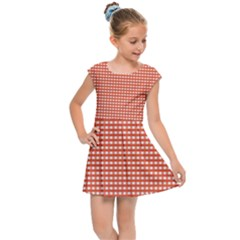 Gingham Plaid Fabric Pattern Red Kids  Cap Sleeve Dress by HermanTelo