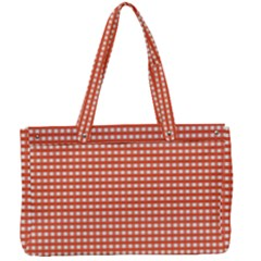 Gingham Plaid Fabric Pattern Red Canvas Work Bag by HermanTelo