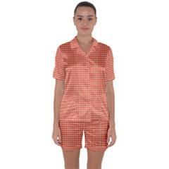 Gingham Plaid Fabric Pattern Red Satin Short Sleeve Pyjamas Set