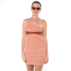 Gingham Plaid Fabric Pattern Red One Soulder Bodycon Dress