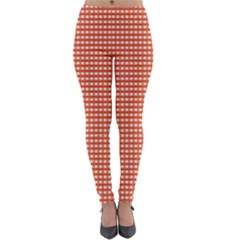 Gingham Plaid Fabric Pattern Red Lightweight Velour Leggings