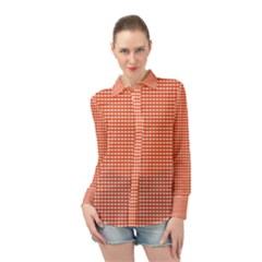 Gingham Plaid Fabric Pattern Red Long Sleeve Chiffon Shirt by HermanTelo