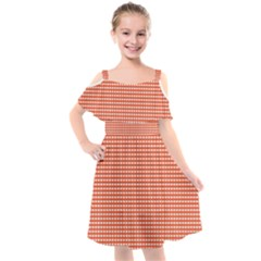 Gingham Plaid Fabric Pattern Red Kids  Cut Out Shoulders Chiffon Dress by HermanTelo