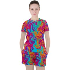 Crazy Swirls Women s Tee And Shorts Set by tarastyle