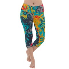 Crazy Swirls Lightweight Velour Capri Yoga Leggings by tarastyle