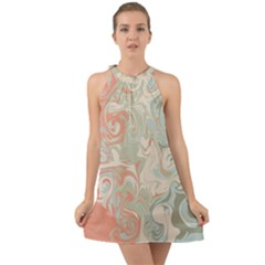 Crazy Swirls Halter Tie Back Chiffon Dress by tarastyle