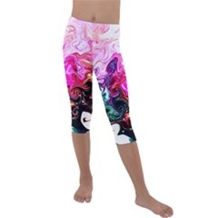 Crazy Swirls Kids  Lightweight Velour Capri Leggings  by tarastyle