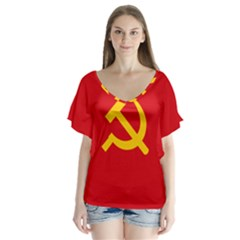 Flag Of Chinese Workers  And Peasants  Red Army, 1934 1937 V Neck Flutter Sleeve Top