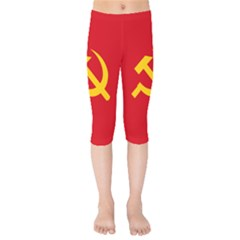 Flag Of Chinese Workers  And Peasants  Red Army, 1934 1937 Kids  Capri Leggings  by abbeyz71
