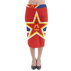 Flag Of The People s Liberation Army Navy, 1950 s Midi Pencil Skirt