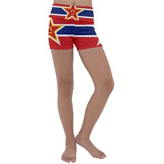 Flag Of The People s Liberation Army Navy, 1950 s Kids  Lightweight Velour Yoga Shorts