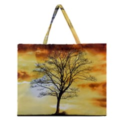 Branches Dawn Dusk Fall Zipper Large Tote Bag