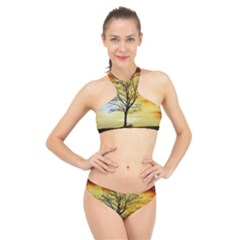 Branches Dawn Dusk Fall High Neck Bikini Set