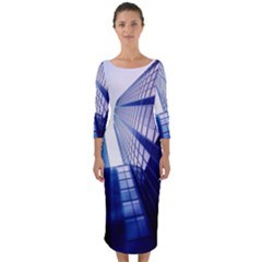 Abstract Architectural Design Architecture Building Quarter Sleeve Midi Bodycon Dress