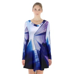 Abstract Architectural Design Architecture Building Long Sleeve Velvet V Neck Dress